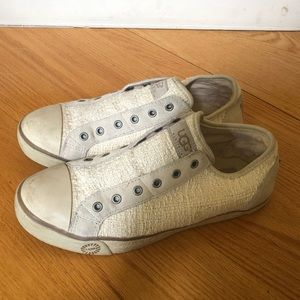 UGG Cream Low Top Sneaker with Shearling 8.5